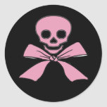 Pink Ribbon Jolly Roger Girl Pirate Stickers