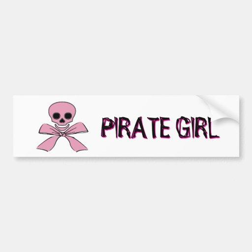 Pink Ribbon Jolly Roger Pirate Girll Sticker Car Bumper Sticker