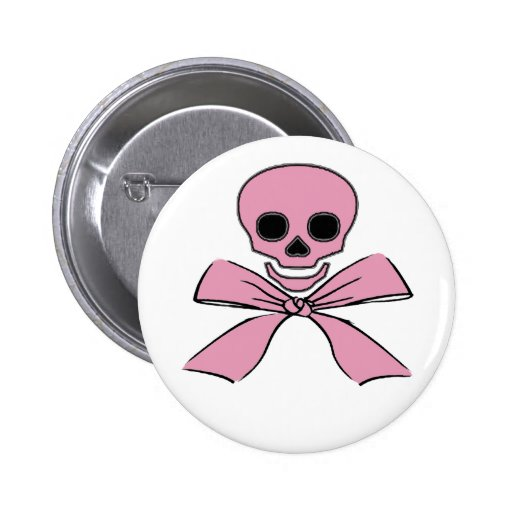 Pink Ribbon Jolly Roger Pirate Pin Button