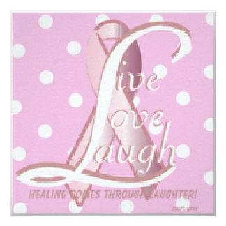 Pink Ribbon Laugh Live Love CardCustomize 5.25x5.25 Square Paper Invitation Card