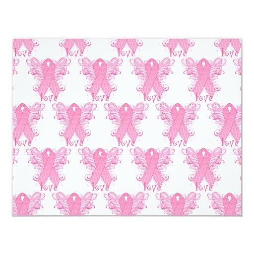 Pink Ribbon Love 4.25x5.5 Paper Invitation Card
