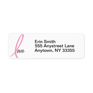 Pink Ribbon Love breast cancer address labels
