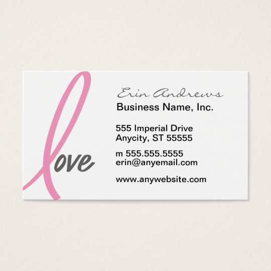 Pink Ribbon Love breast cancer business cards