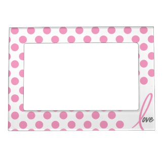 Pink Ribbon Love breast cancer magnetic frame