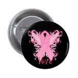 Pink Ribbon Love Pinback Buttons