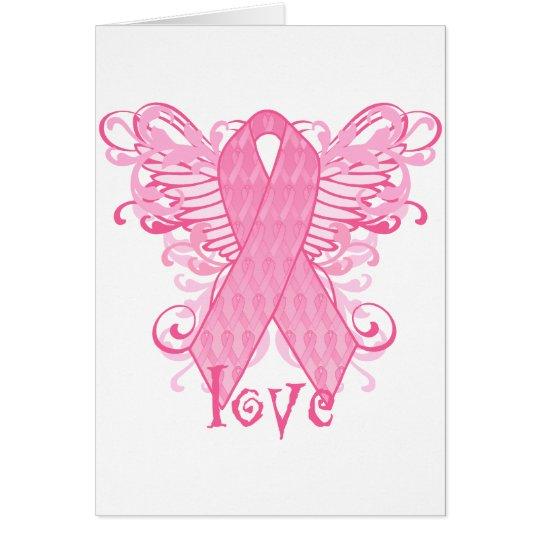 Pink Ribbon Love Wings Card