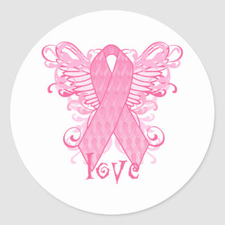 Pink Ribbon Love Wings Classic Round Sticker