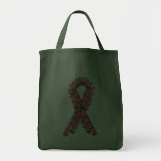 Pink Ribbon Made of Pink Roses Grocery Tote Bag