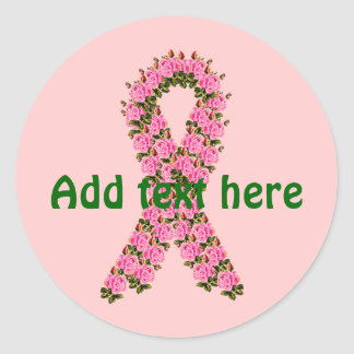 Pink Ribbon Made of Pink Roses Classic Round Sticker