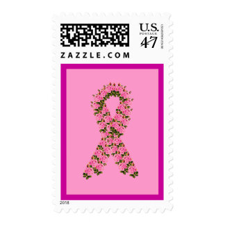 Pink Ribbon Made of Pink Roses Postage