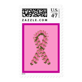 Pink Ribbon Made of Pink Roses Stamp