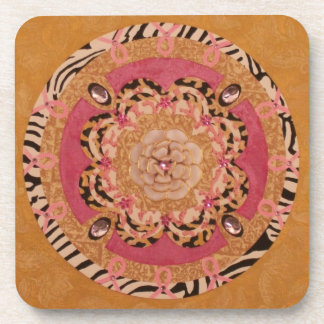 Pink Ribbon Mandala: Breast Cancer Awareness Image Beverage Coaster