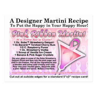 Pink Ribbon Martini Recipe Postcard for Breast Can