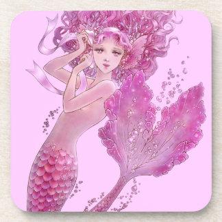 Pink Ribbon Mermaid Coaster