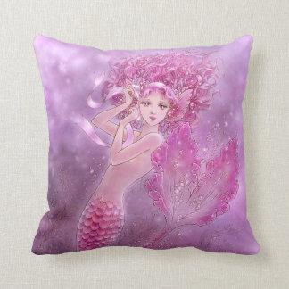 Pink Ribbon Mermaid Fantasy Art Pillow