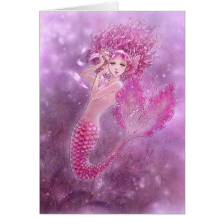 Pink Ribbon Mermaid Greeting Card