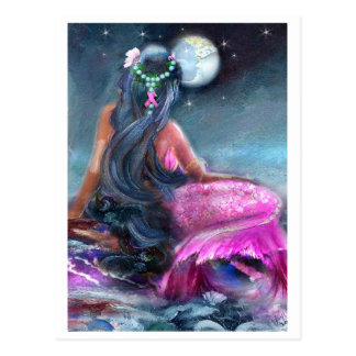Pink Ribbon Mermaid Postcard