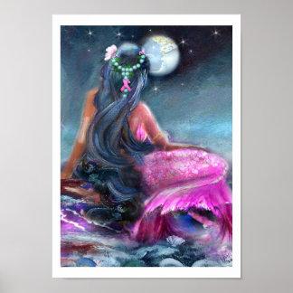 Pink Ribbon Mermaid Prints Poster