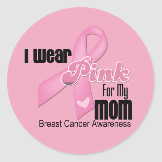 Pink Ribbon Mom Breast Cancer Round Sticker