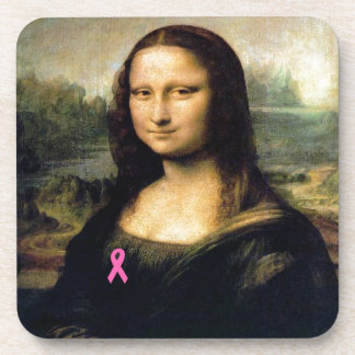 Pink Ribbon Mona Lisa Beverage Coaster