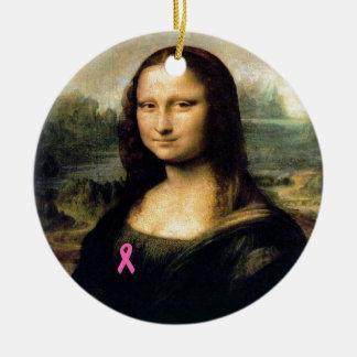 Pink Ribbon Mona Lisa Ceramic Ornament
