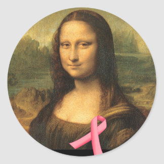 Pink Ribbon Mona Lisa Classic Round Sticker