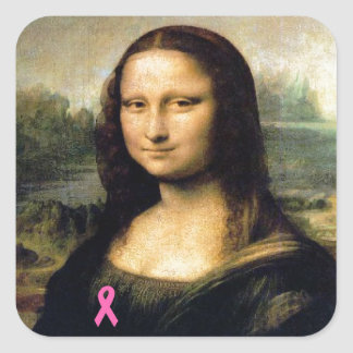 Pink Ribbon Mona Lisa Square Sticker