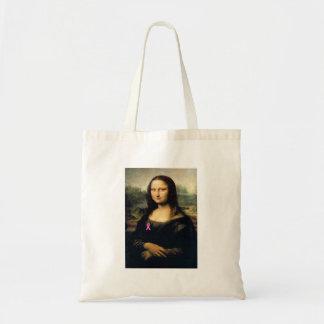 Pink Ribbon Mona Lisa Tote Bag