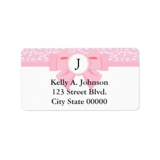 Pink Ribbon Monogram with Floral Print Label