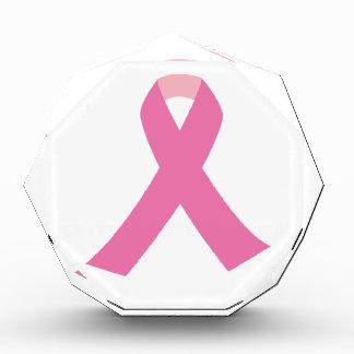 Pink ribbon of breast cancer awareness awards
