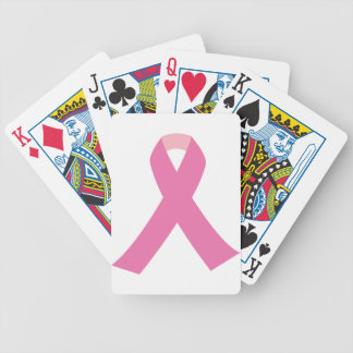 Pink ribbon of breast cancer awareness bicycle playing cards