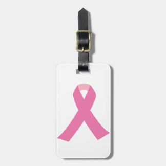 Pink ribbon of breast cancer awareness travel bag tags