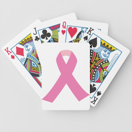 Pink ribbon of breast cancer awareness playing cards