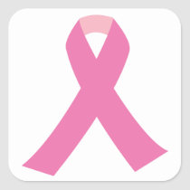 Pink ribbon of breast cancer awareness square sticker