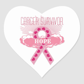 Pink Ribbon Of Hope Heart Cancer Survivor Stickers