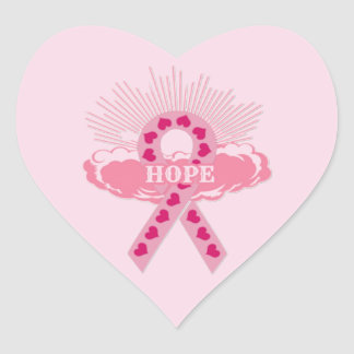 Pink Ribbon Of Hope Heart Stickers