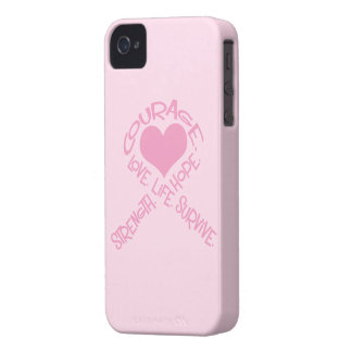 Pink Ribbon of Words Breast Cancer iPhone 4 Case