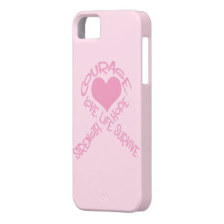 Pink Ribbon of Words Breast Cancer iPhone 5 Case