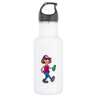 Pink Ribbon Old Lady Walking Stainless Steel Water Bottle