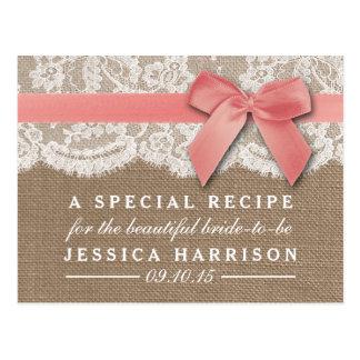 Pink Ribbon On Burlap & Lace Bridal Shower Recipe Postcard