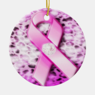 Pink Ribbon on Leopard Print Ornament