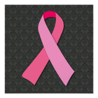 Pink Ribbon on Medium Damask Poster