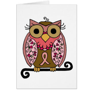 Pink Ribbon Owl Card