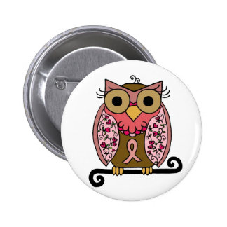 Pink Ribbon Owl Pinback Button