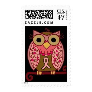 Pink Ribbon Owl Postage Stamp