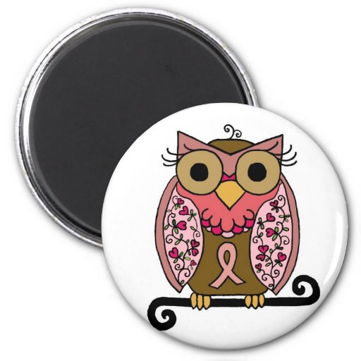 Pink Ribbon Owl Refrigerator Magnets