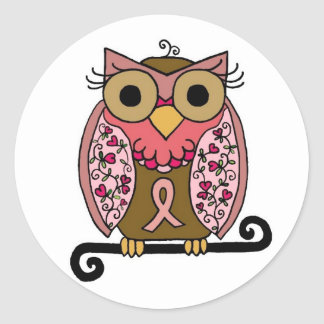 Pink Ribbon Owl Classic Round Sticker