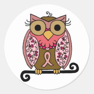Pink Ribbon Owl Stickers