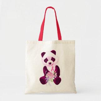 Pink Ribbon Panda Bear Budget Tote Bag