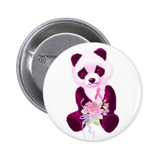 Pink Ribbon Panda Bear Button